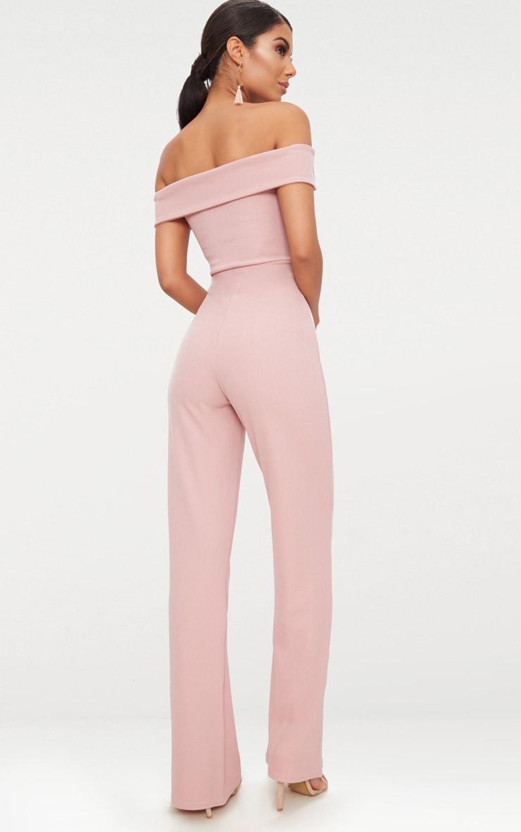 Pink Crepe Bardot Folded Detail Jumpsuit 2