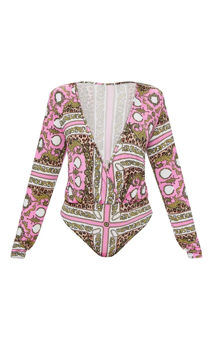 Pink Scarf Printed Long Sleeve Thong Bodysuit  3