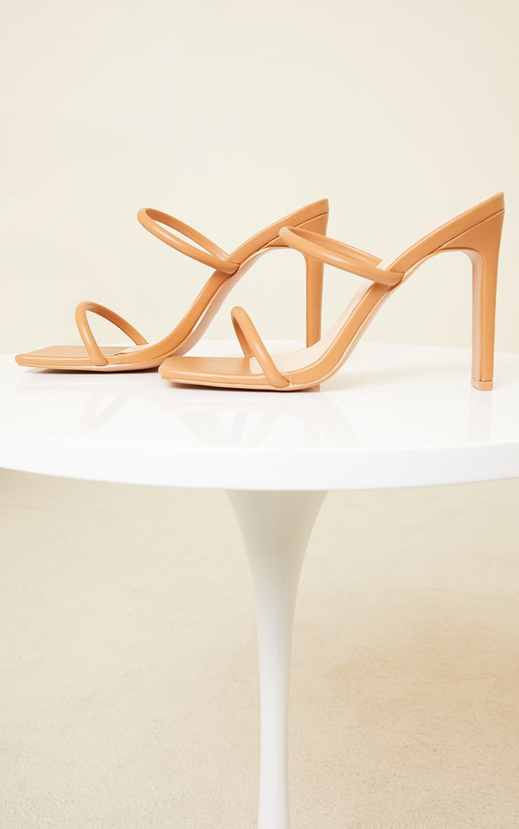 Tan Wide Fit Extreme Square Toe Twin Strap Mule High Heels 4