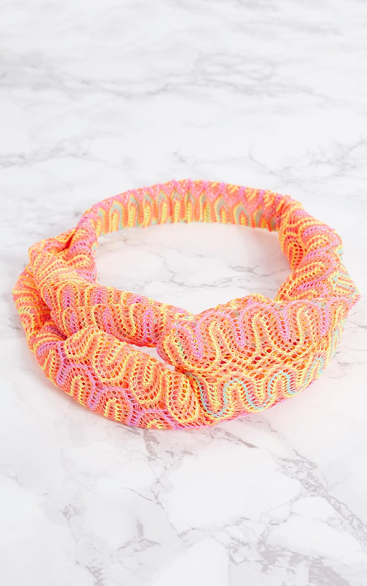 Orange Neon Crochet Headband 3