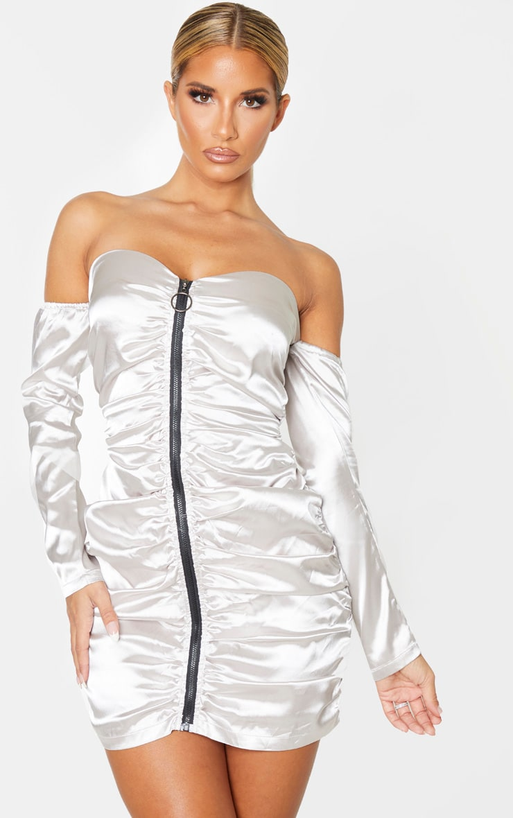 Silver Satin Zip Through Ruched Bardot Bodycon Dress 1