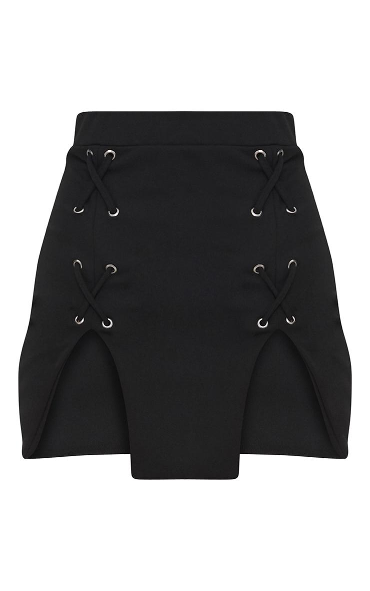 Mini jupe noire fendue à lacets  3