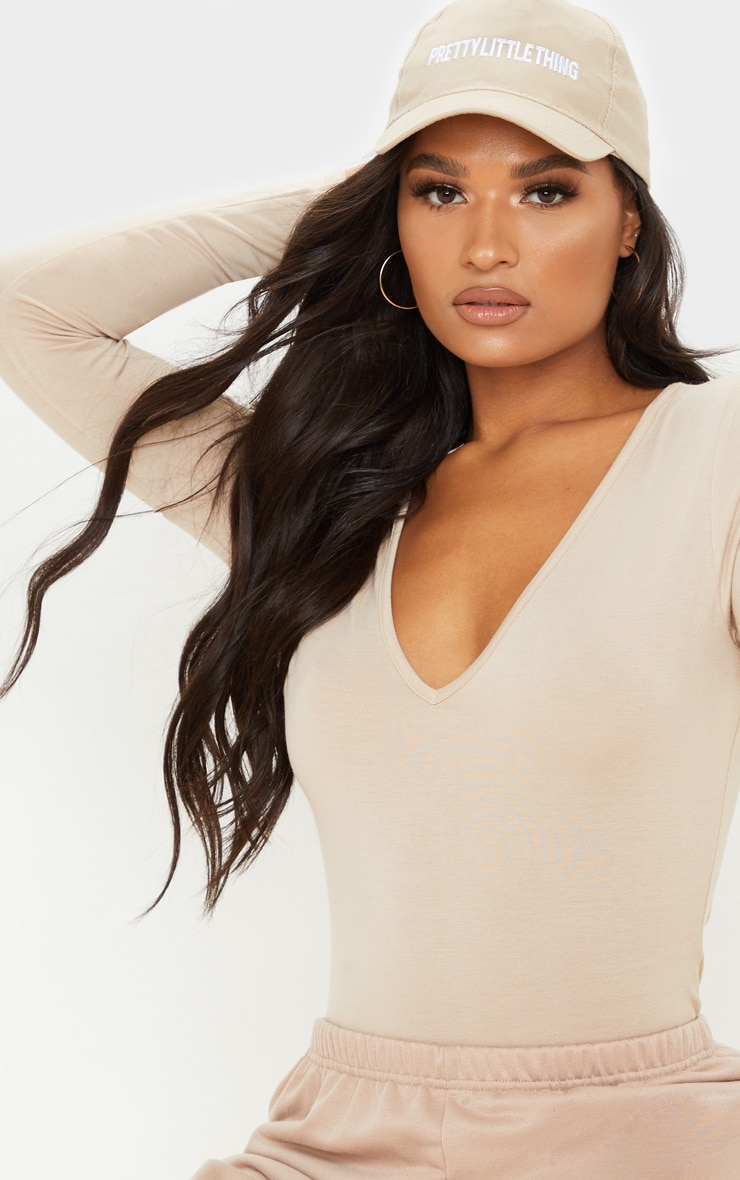 Basic Sand  V Neck Long Sleeve Jersey Bodysuit 4