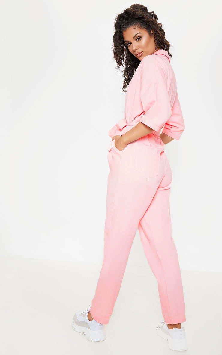 Dusty Pink Denim Utility Jumpsuit 2