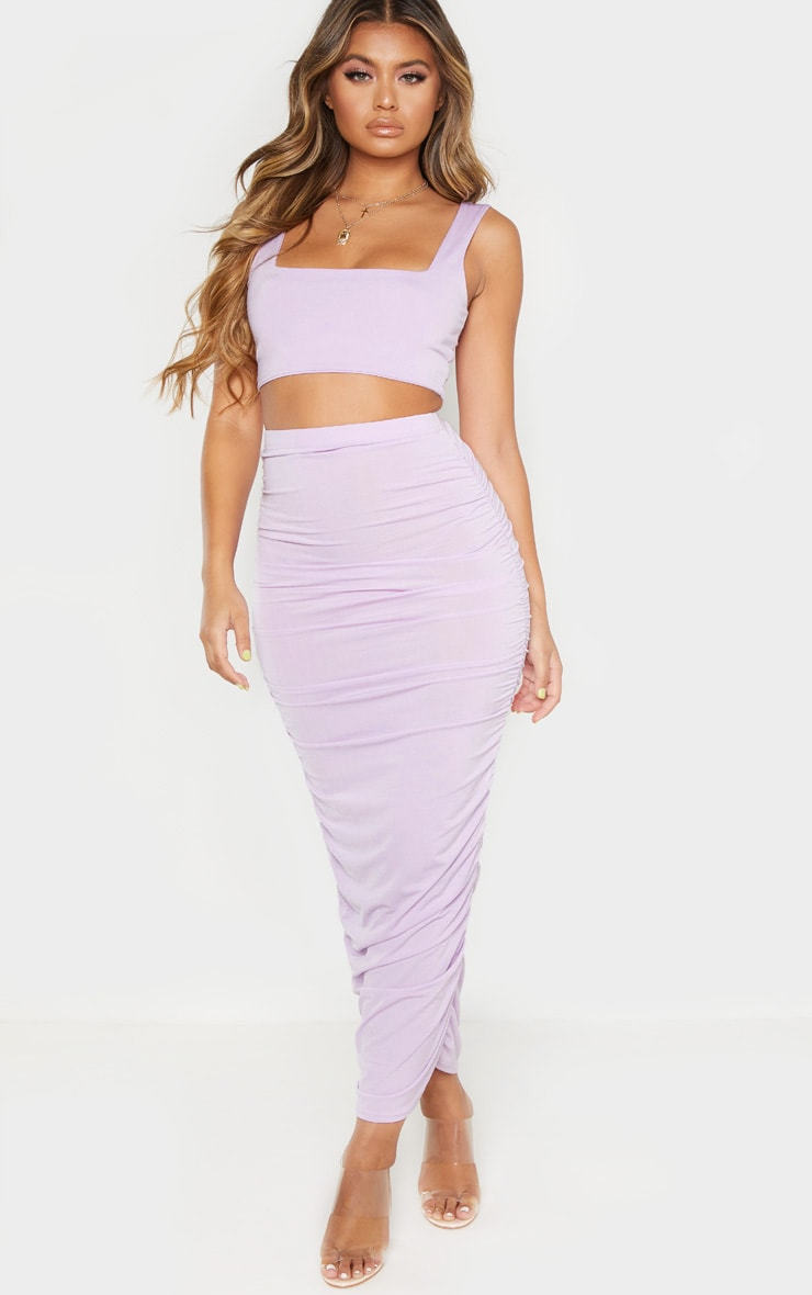 Lilac Second Skin Slinky Square Neck Crop Top  4