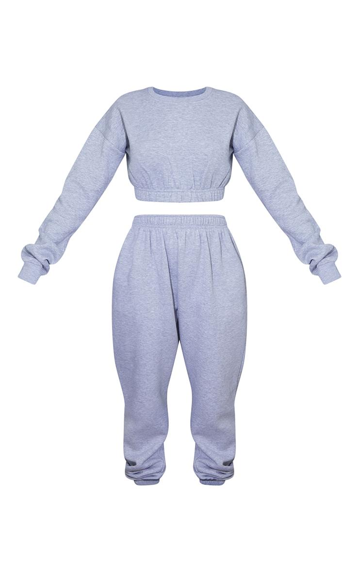 Grey Ruched Hem Cropped Sweatshirt 5