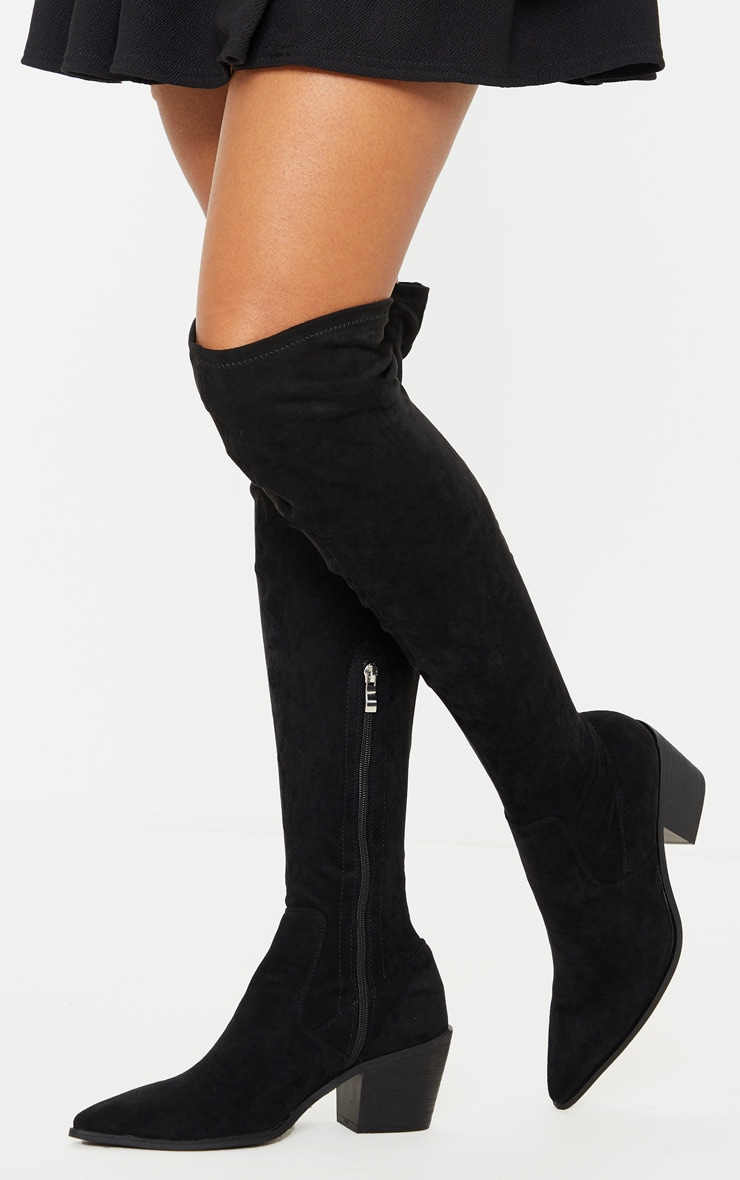Black Thigh High Western Sock Boot 2