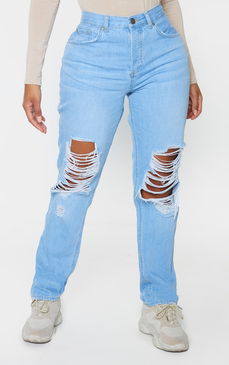 Shape Light Wash Denim Extreme Rip Boyfriend Jeans 2