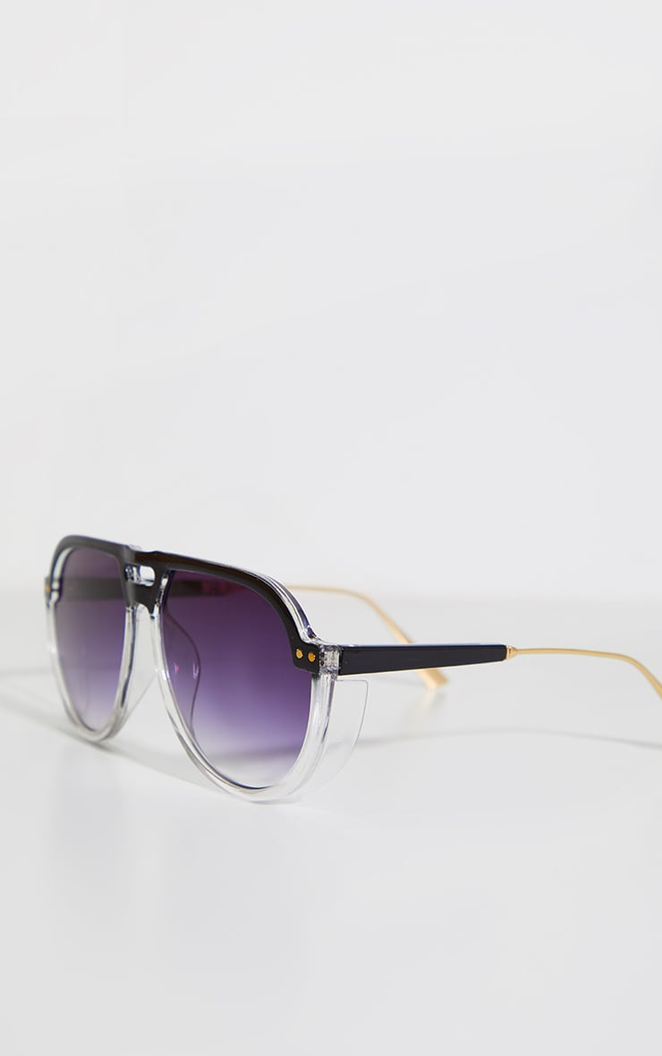 Black Ombre Double Bar Round Frame Sunglasses 6