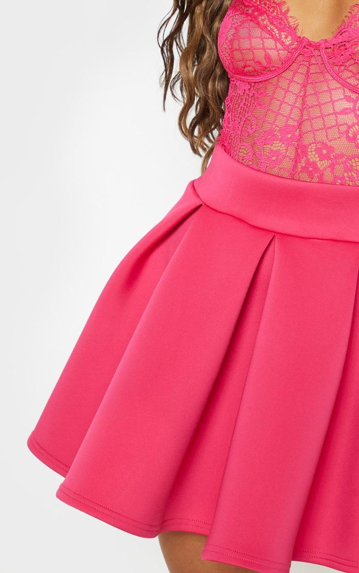 Hot Pink Scuba Skater Mini Skirt 6