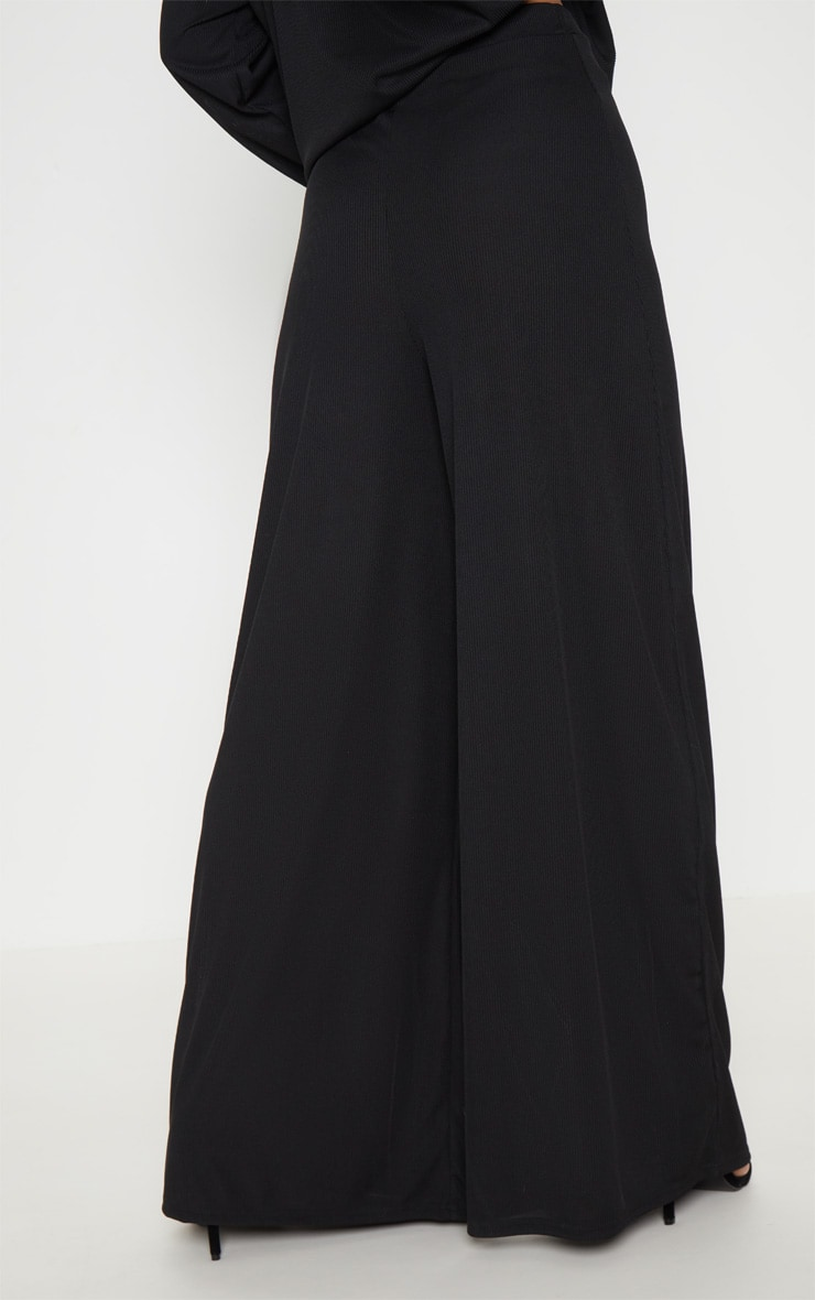 Black Rib Wide Leg Pants 4