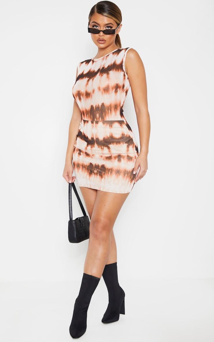 Brown Tie Dye Mesh Printed Mini Skirt 4