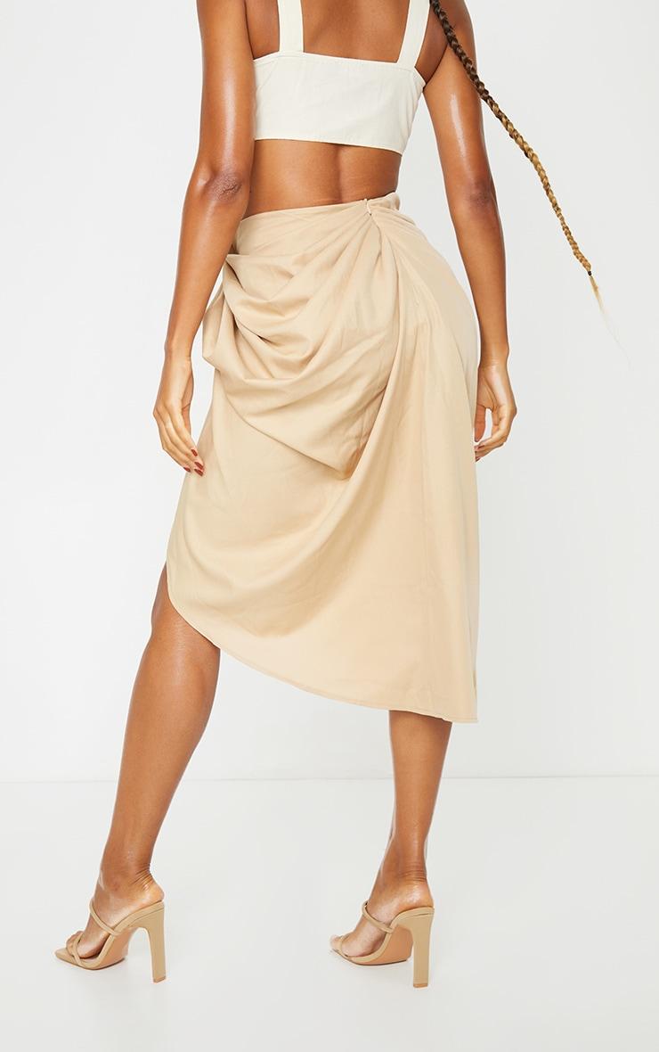 Beige Ruched Side Midi Skirt 3
