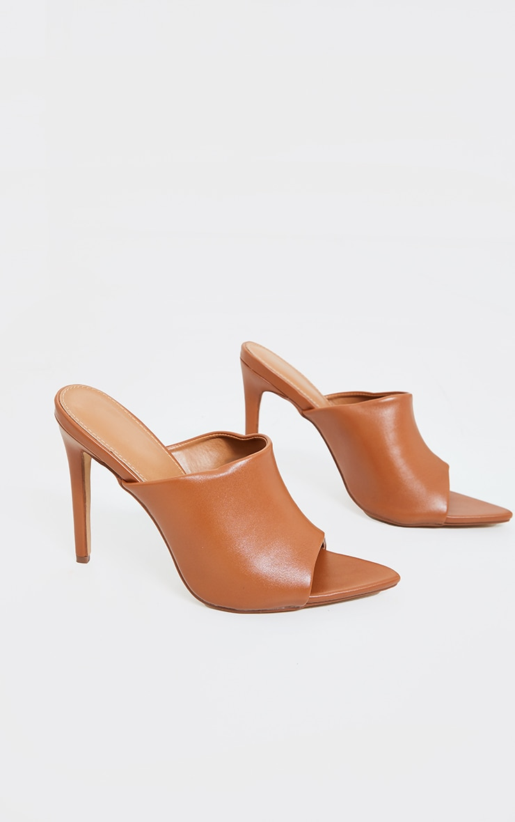 Camel Pu Pointed High Heeled Mules 3
