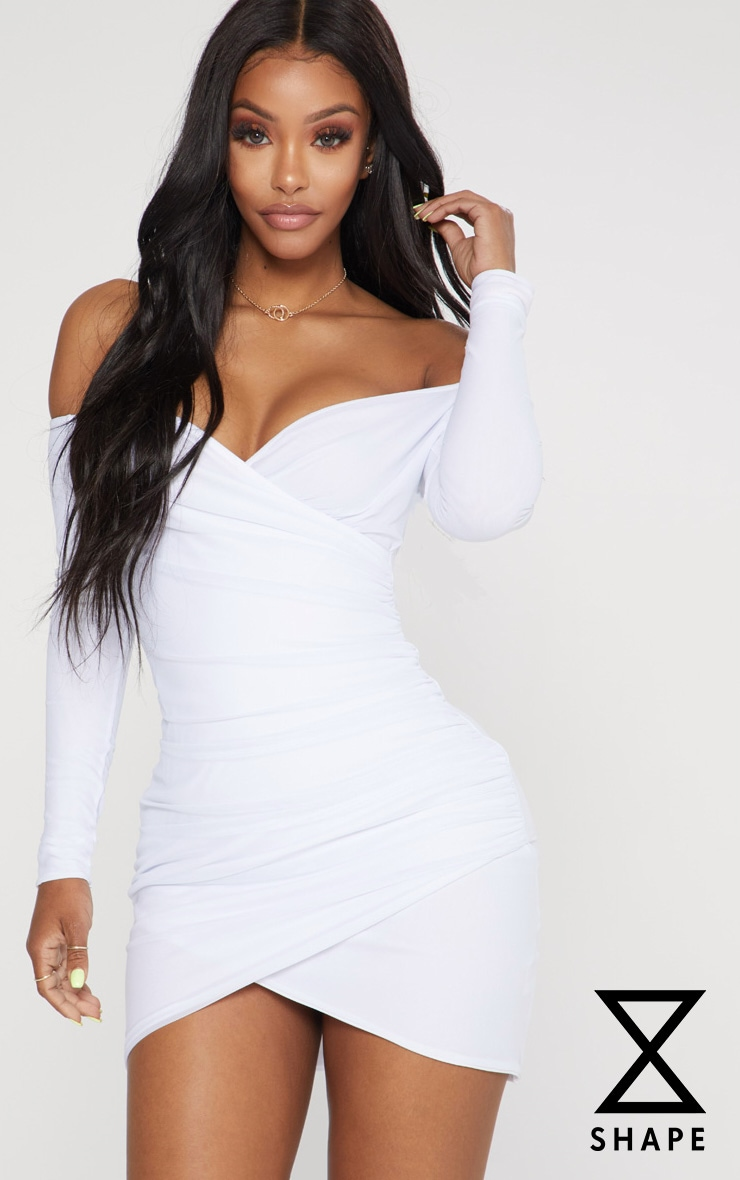 Shape White Mesh Ruched Bardot Bodycon Dress 1