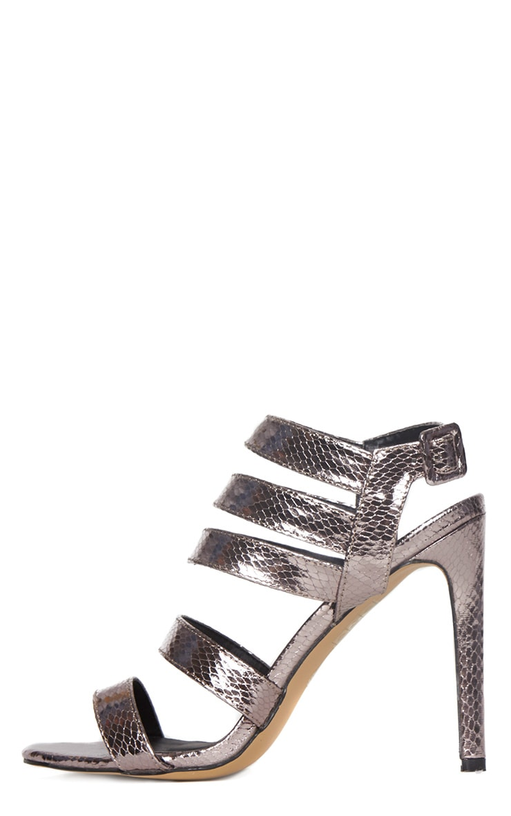 Jemimah Pewter Strappy Heeled Sandals 4