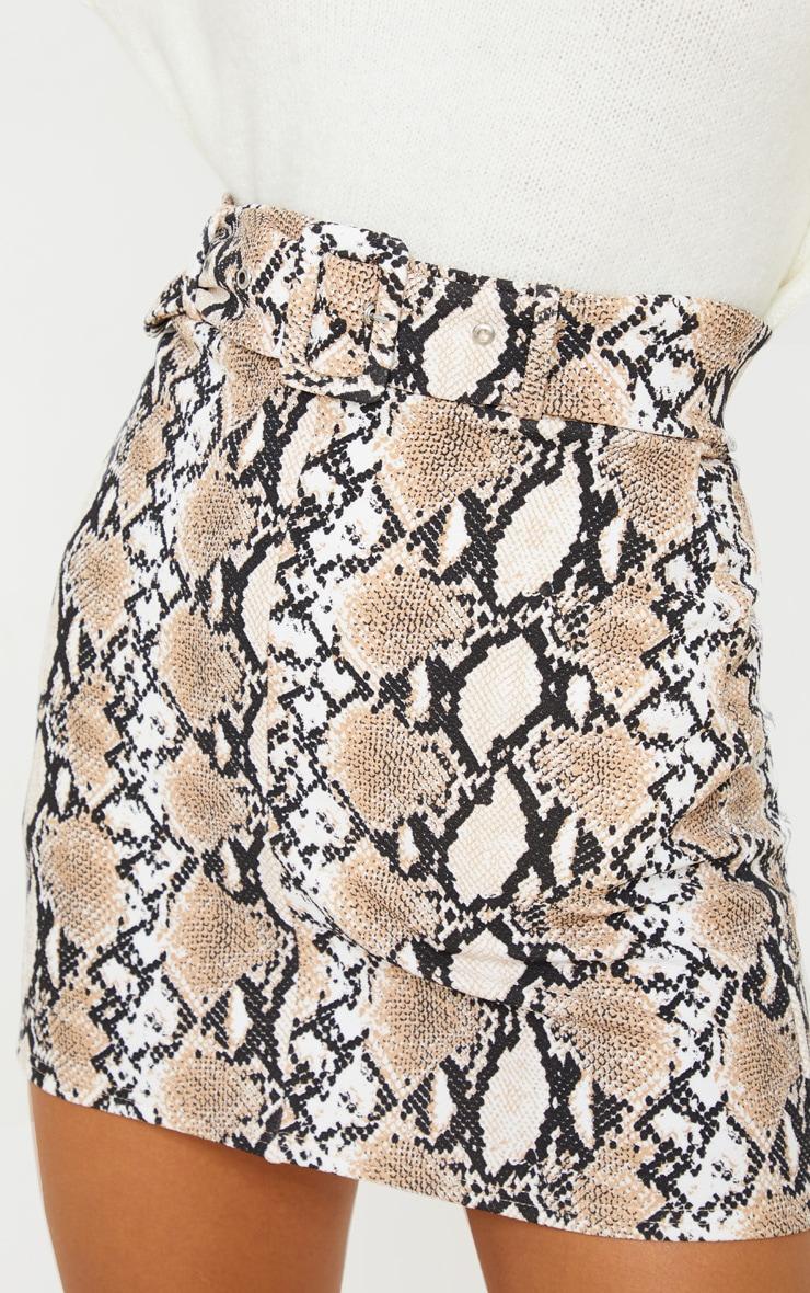 Stone Snake Print Belted Mini Skirt 6