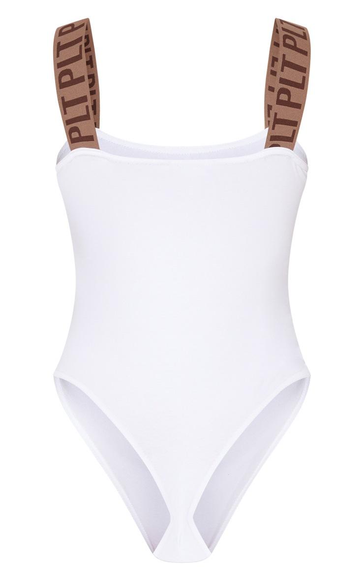 White PRETTYLITTLETHING Strap Square Neck Bodysuit 4