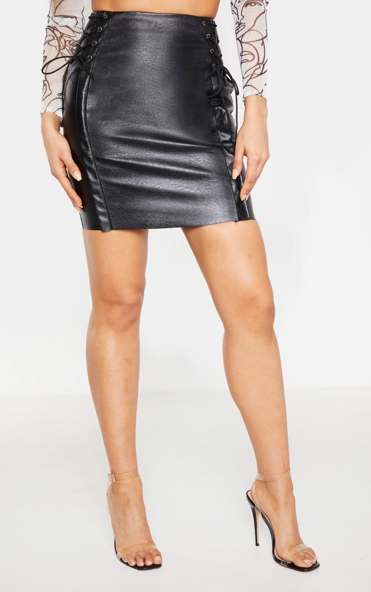 Tall Black PU Lace Up Mini Skirt  2