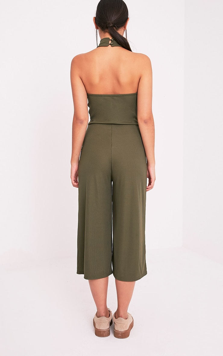 Marcie Khaki High Neck Low Back Culotte Jumpsuit 2