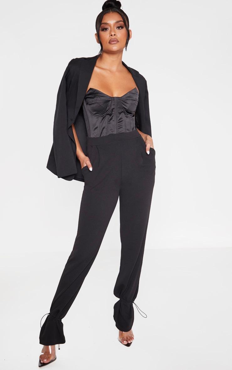 Black Crepe Toggle Hem Trousers 1