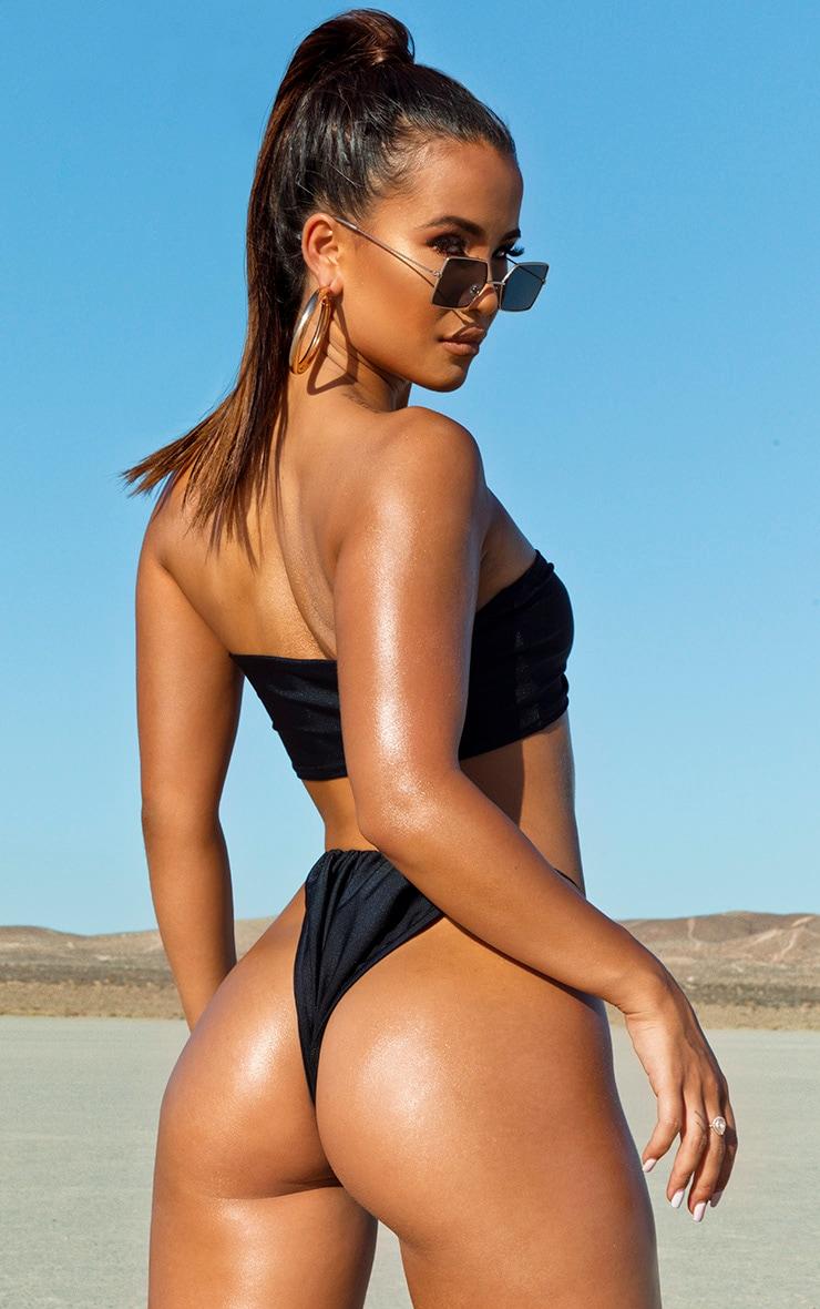 Bas de bikini noir à attaches élastiques 2