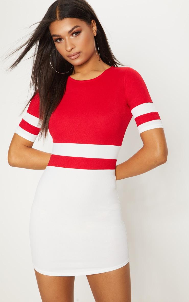 Red Contrast Stripe Bodycon Dress 1