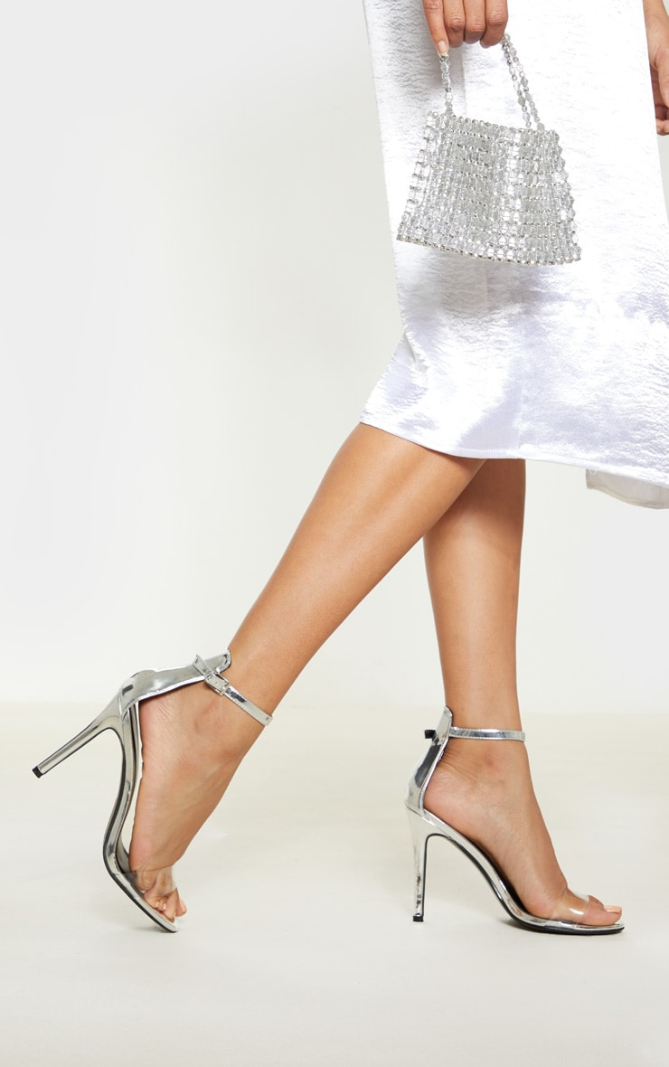 Silver Patent Clear Strap High Heels 1