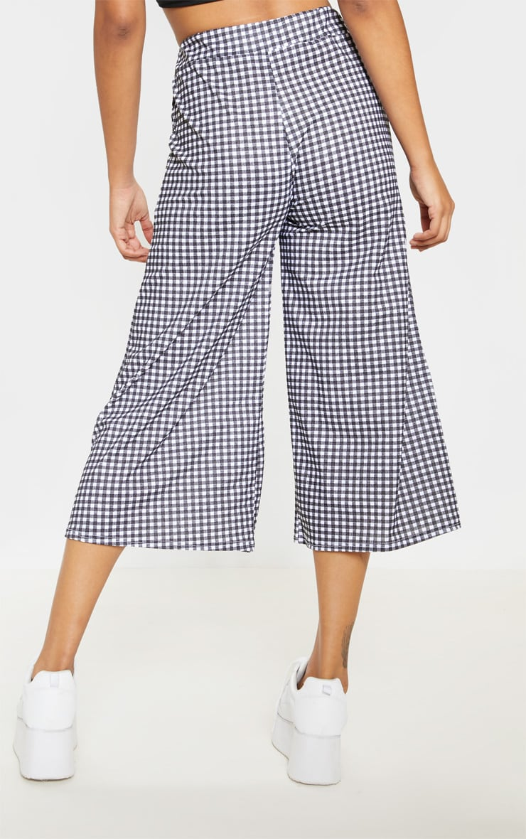 Black Gingham Pocket Detail Culottes 4