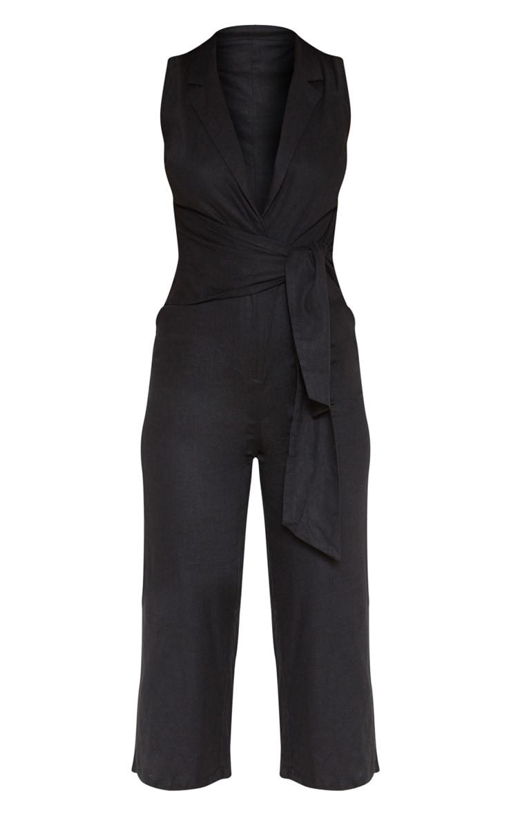 Black Blazer Style Tie Waist Jumpsuit 3