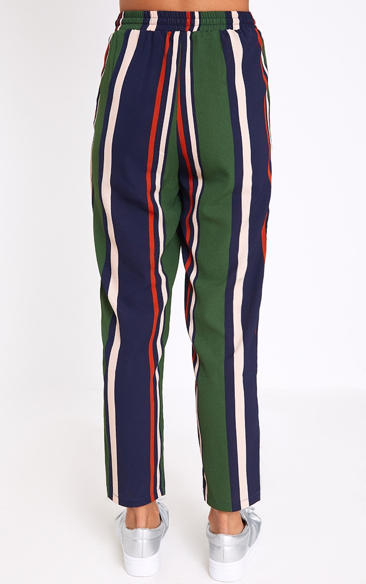 Navy Stripe Casual Trousers 4