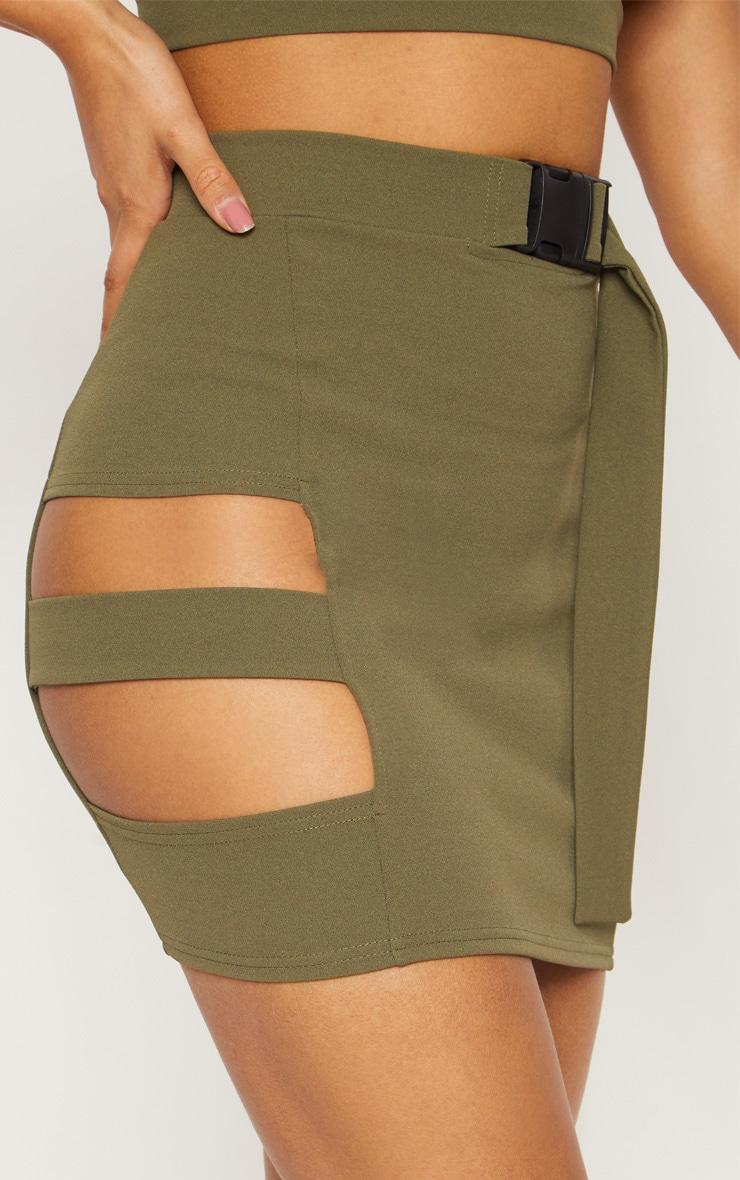f73990b1fd Khaki Crepe Cut Out Buckle Detail Mini Skirt | PrettyLittleThing