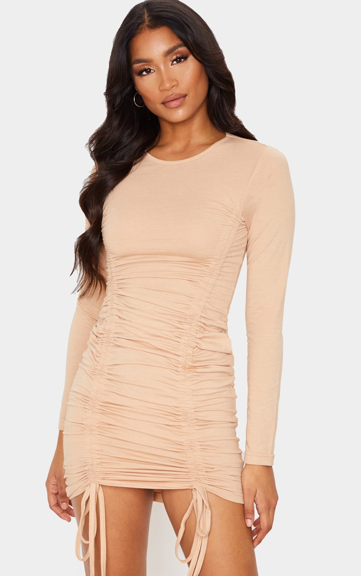 Stone Long Sleeve Ruched Front Bodycon Dress 4