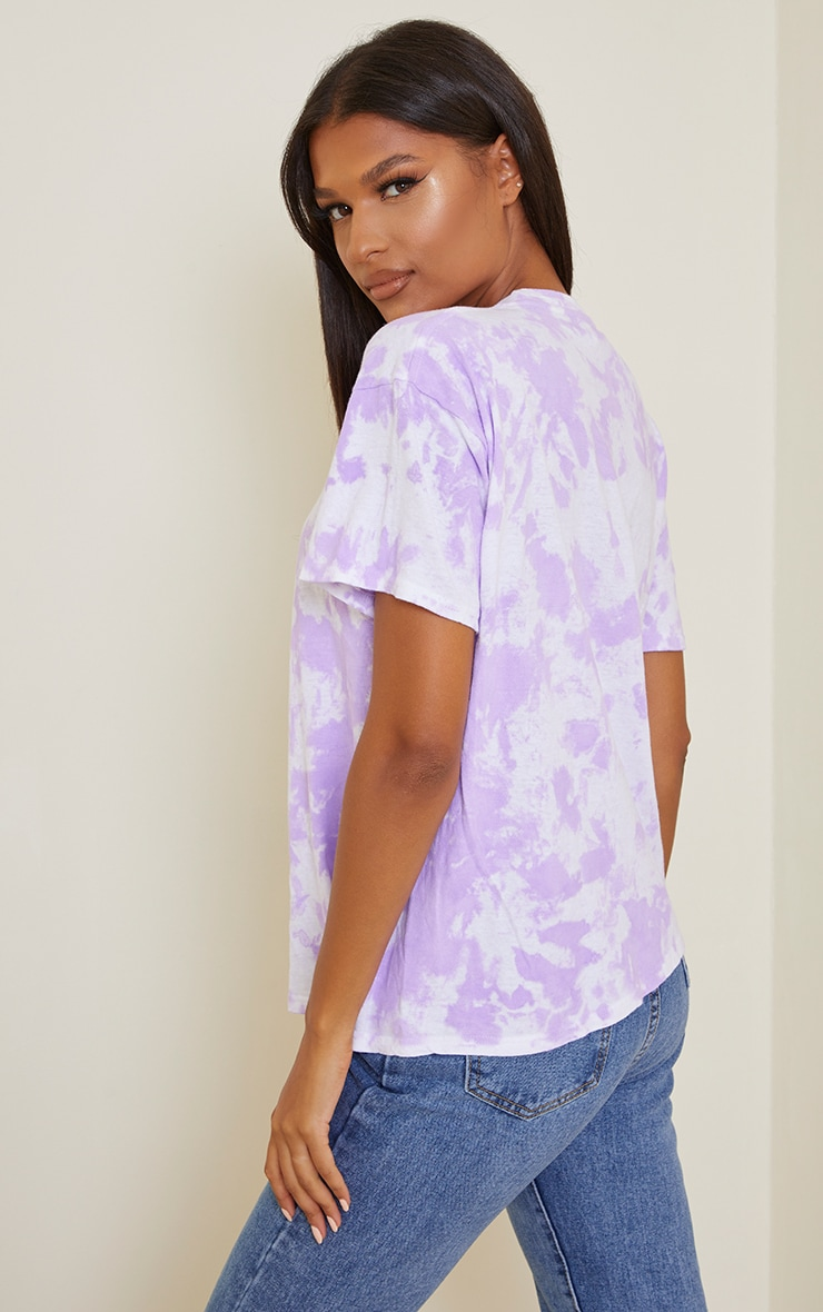 Purple Palm Springs Printed Washed T Shirt 2