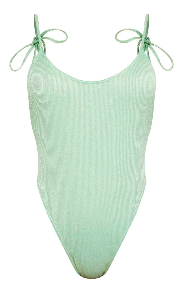 Sage Green Textured Tie Shoulder Swimsuit 6