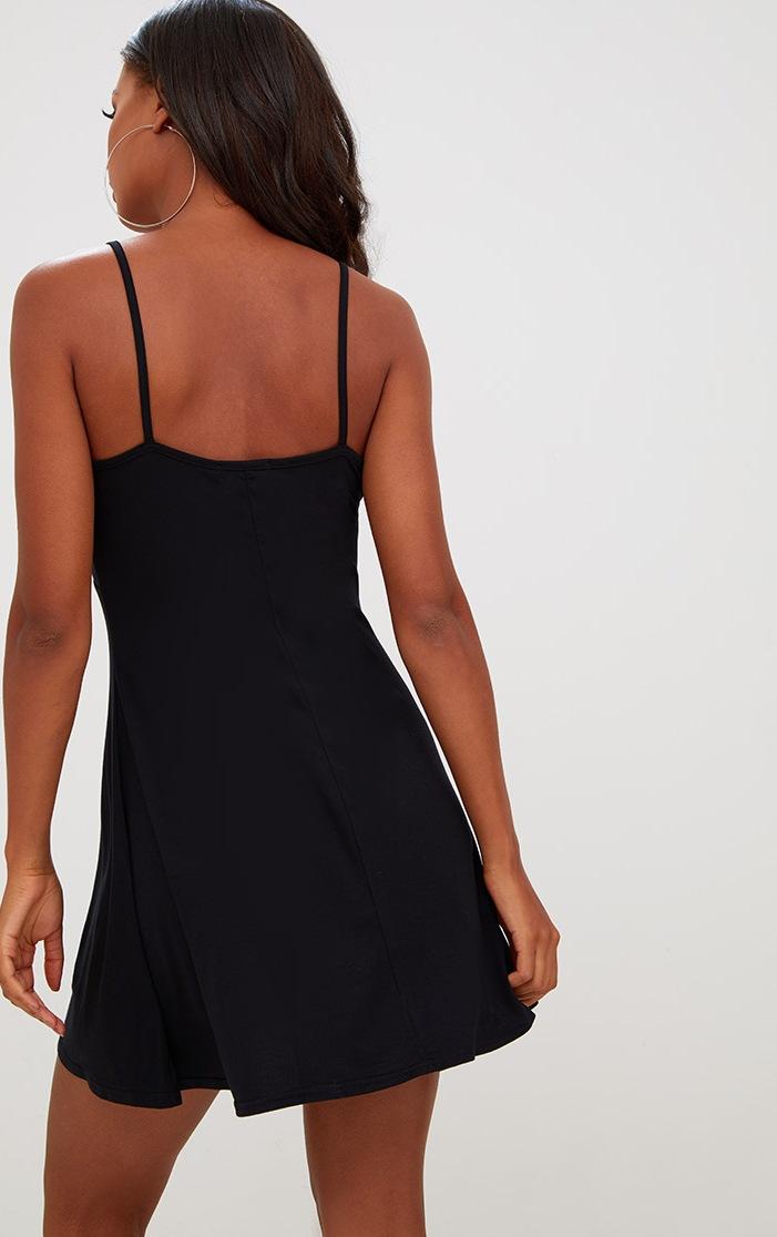 Black Jersey Strap Detail Swing Dress 2