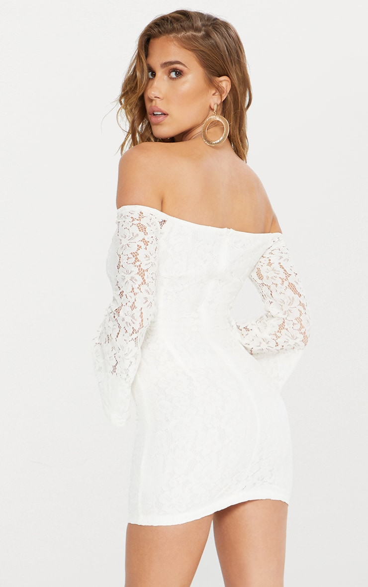 White Lace Bardot Flare Sleeve Bodycon Dress 3