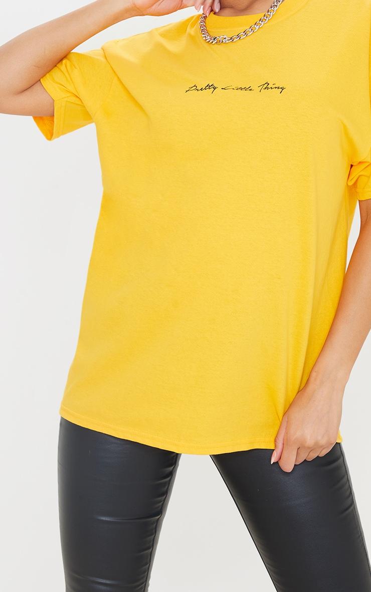 PRETTYLITTLETHING Mustard Graphic Oversized T Shirt 4