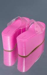 Pink PU Flatform Chunky Mules 4