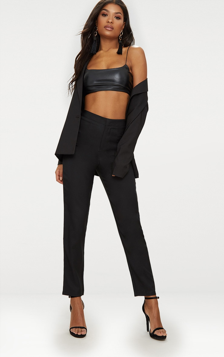 Black Straight Leg Tailored Trousers 1