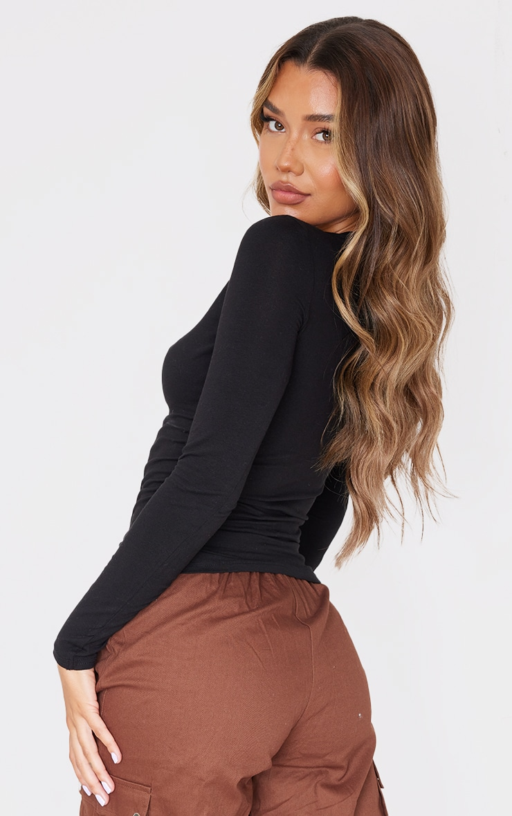 Basic Black Cotton Blend Long Sleeve Fitted T Shirt 2