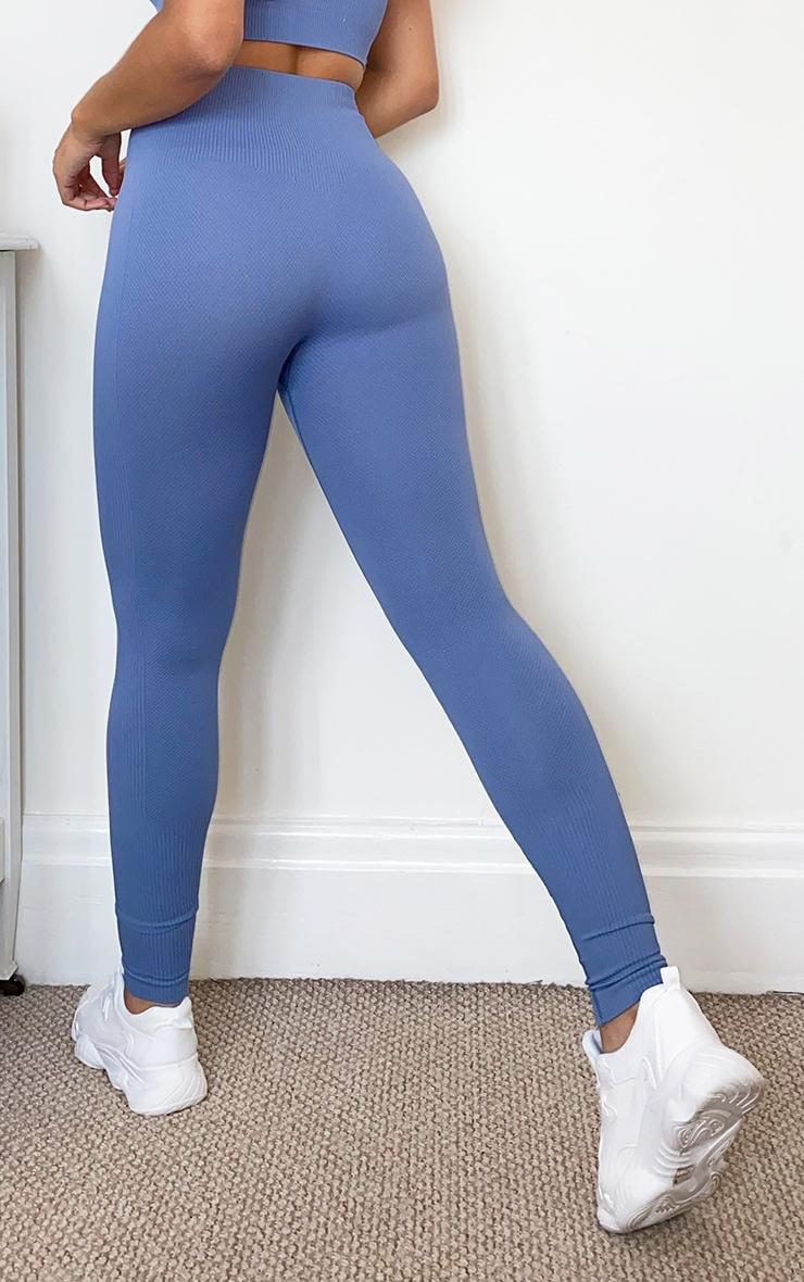 Blue Textured Seamless High Waist Gym Legging 3