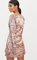 cfc6f4d9cb96 Pink Chain Print Satin Long Sleeve Wrap Dress image 2