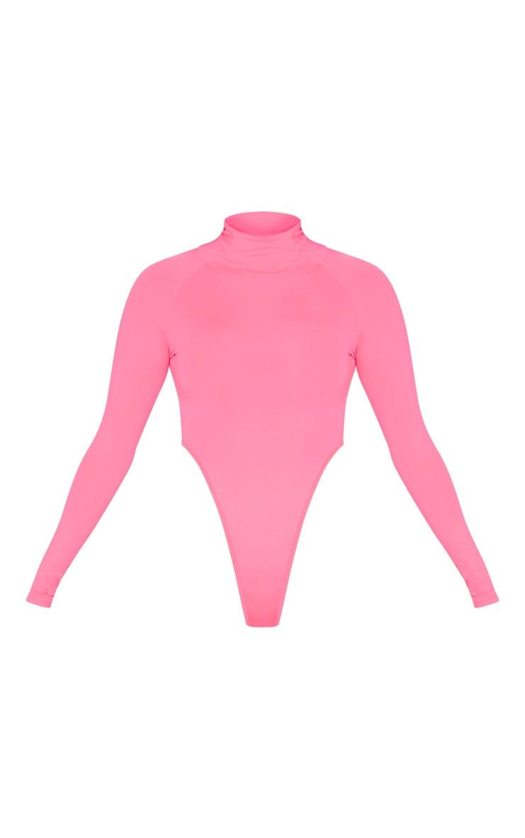 Neon Pink Slinky High Neck Long Sleeve Bodysuit 3