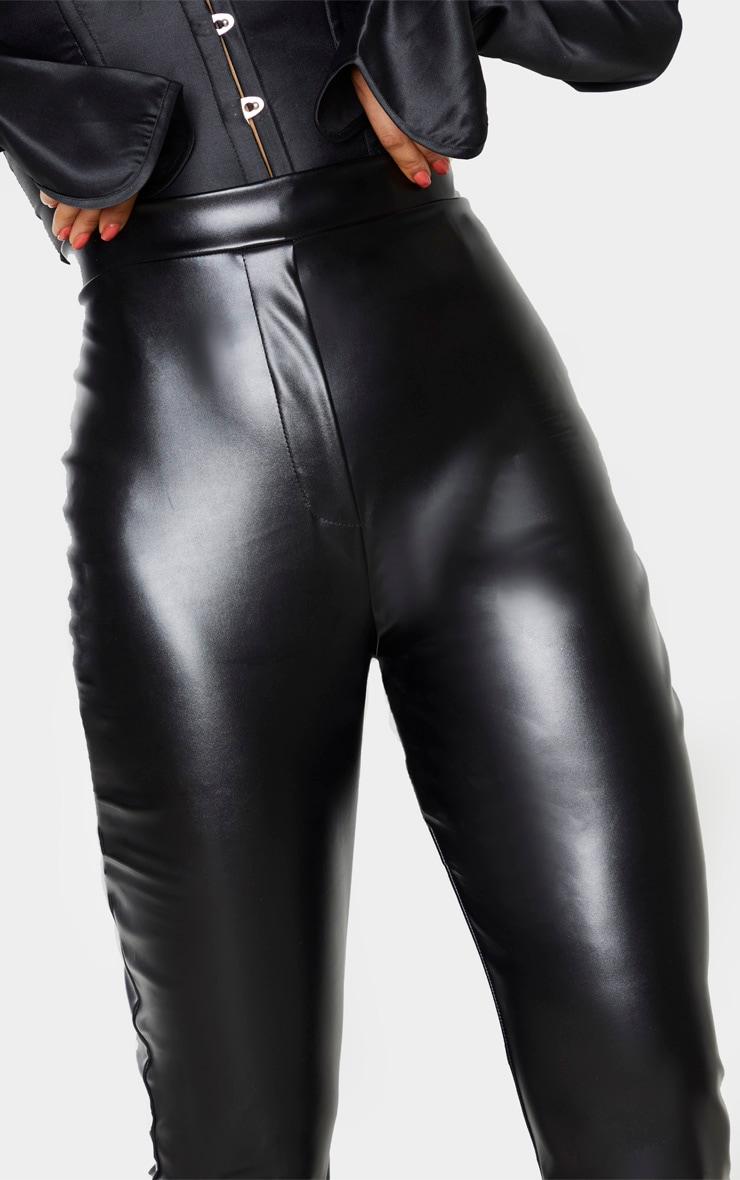 Tall Black PU Flare Trouser 4