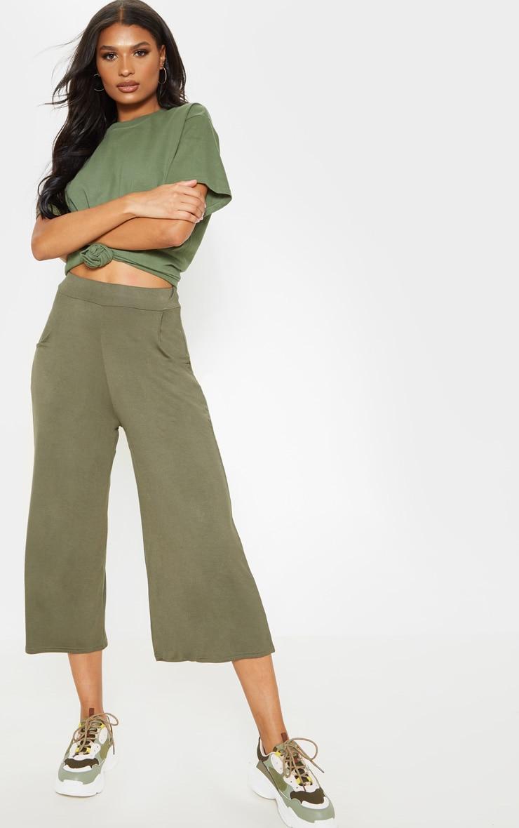 Khaki Jersey Pocket Detail Culotte 1