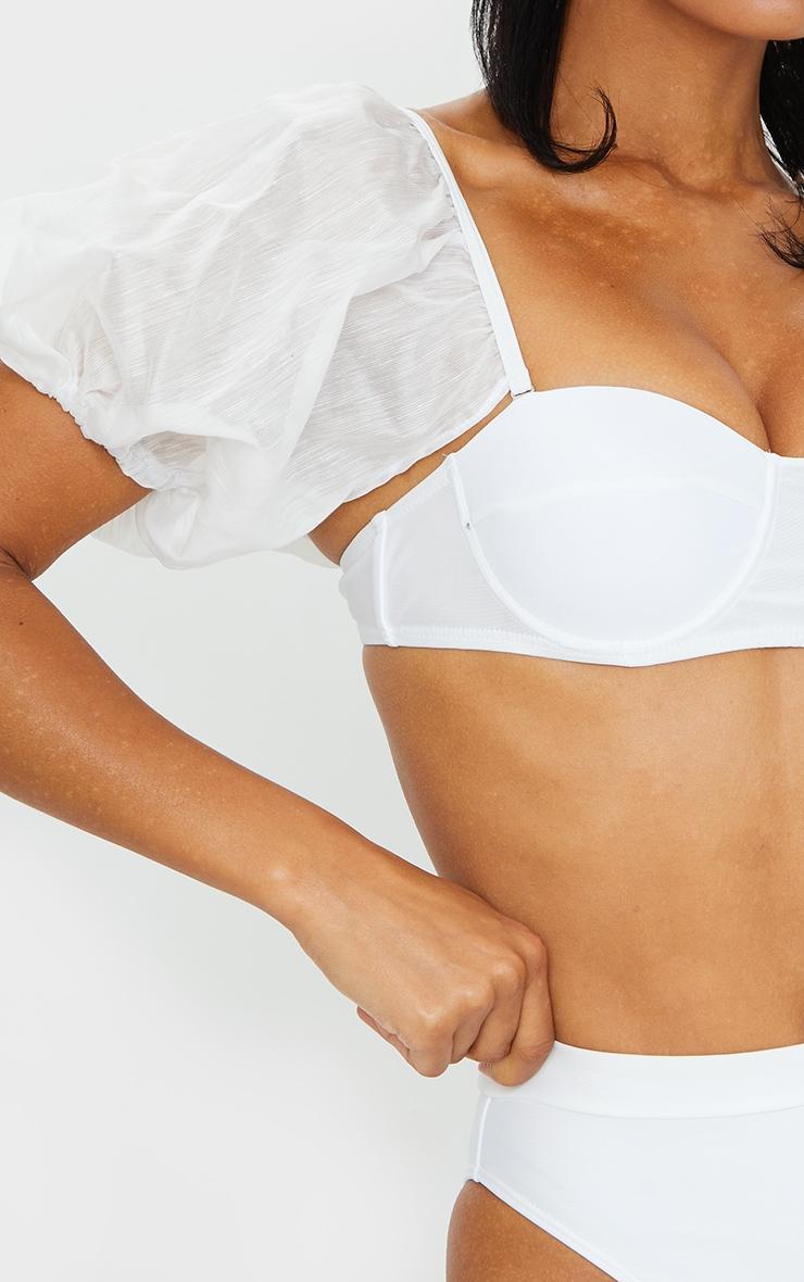 White Mesh Sleeve Bikini Top 4
