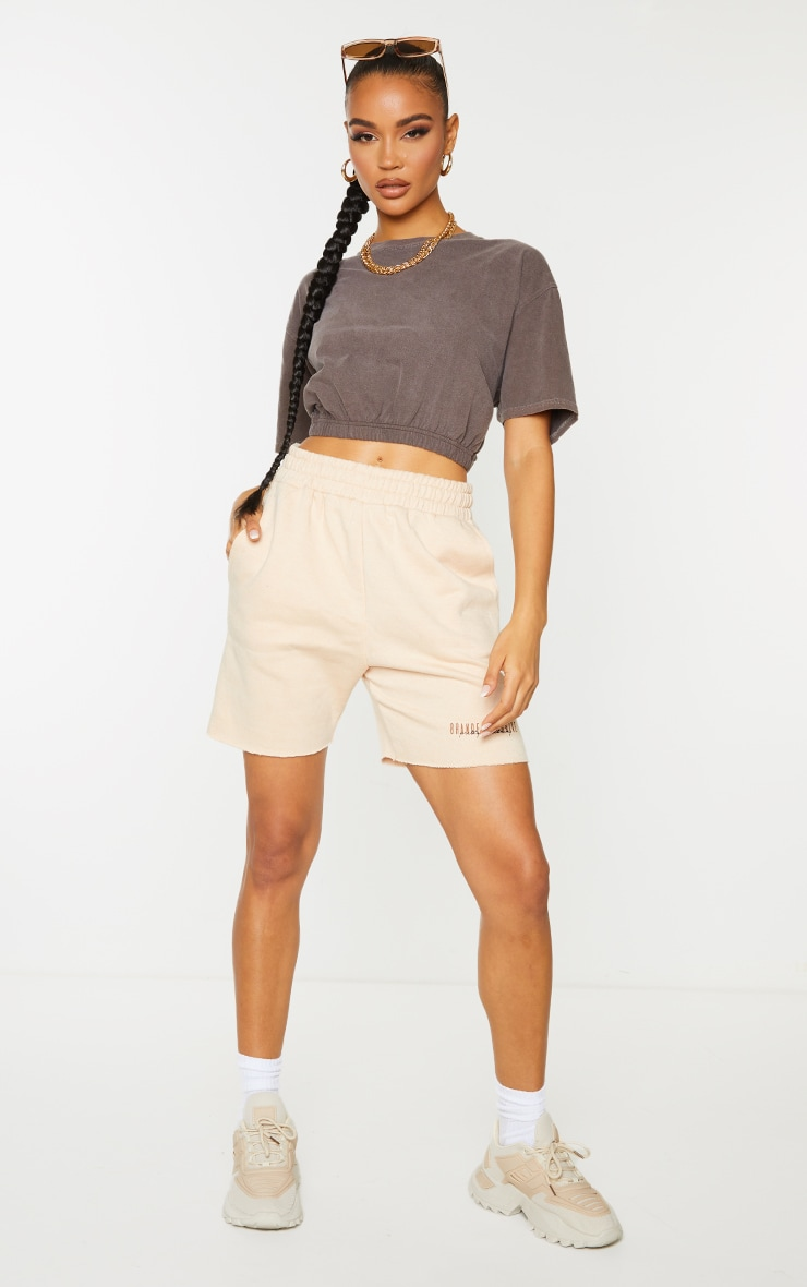 Chocolate Washed Cropped T Shirt 3