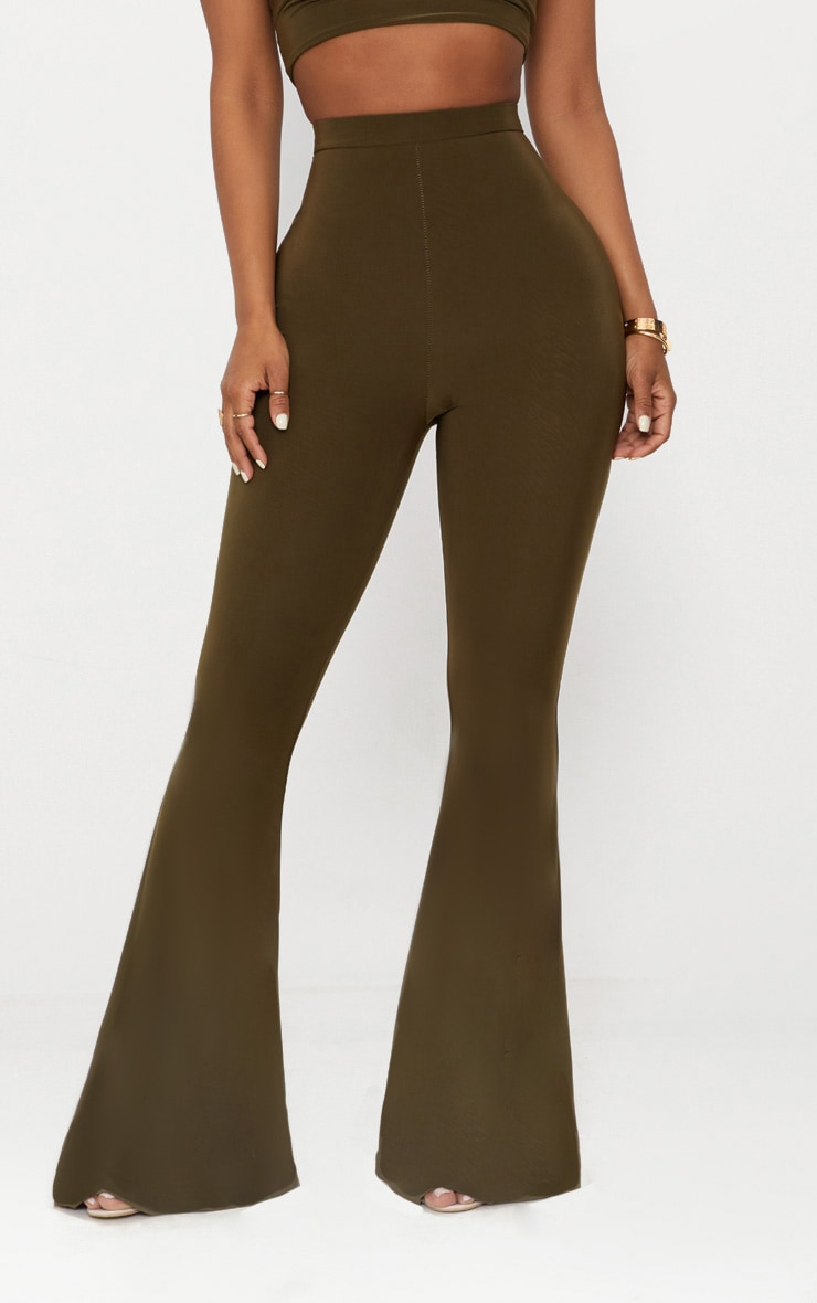 Shape Khaki Slinky Flared Trousers 2
