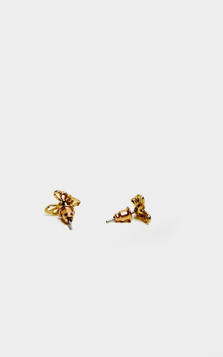 Gold Diamante Butterfly Earrings 3